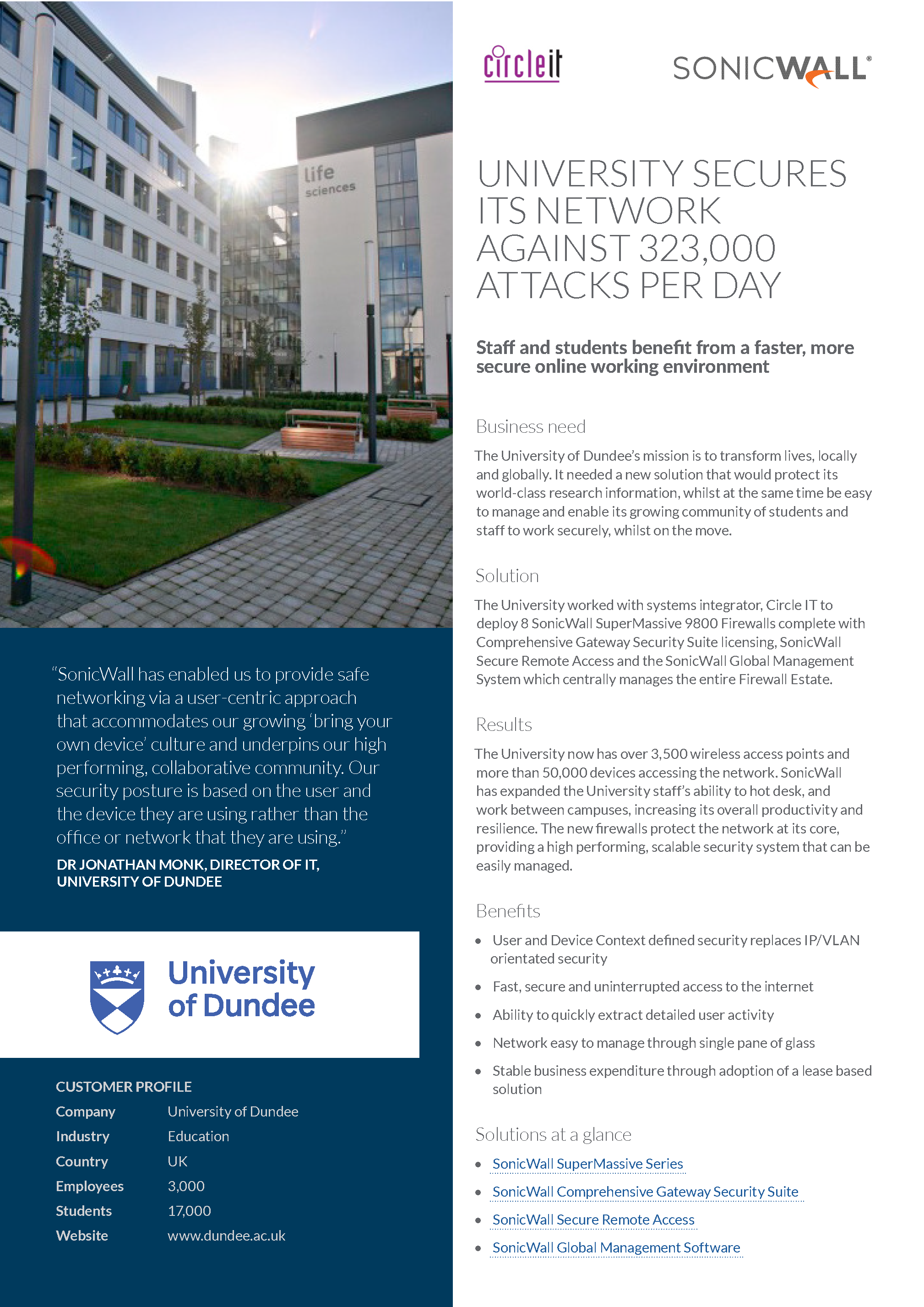 Circle IT | Sonicwall | University of Dundee